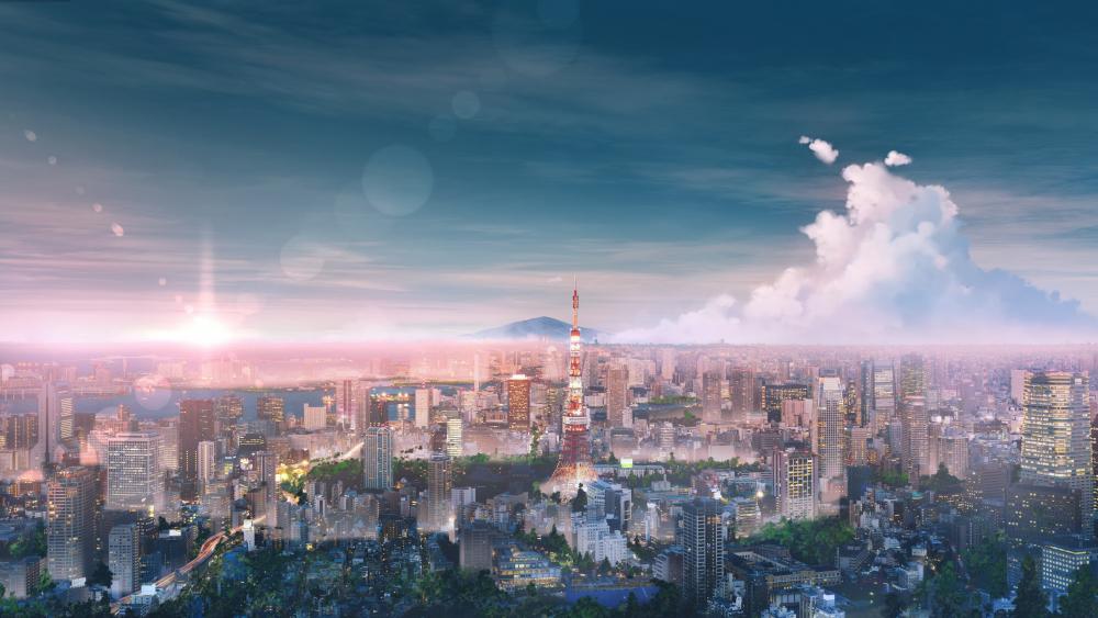 Tokyo illustration wallpaper