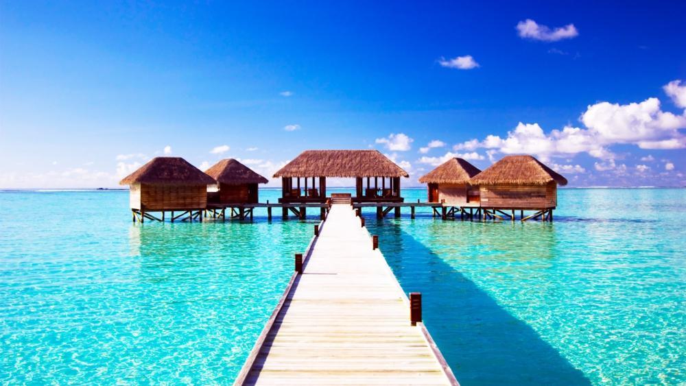 Tropical resort in Maldives wallpaper