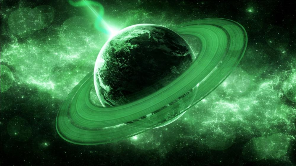 Green ringed planet wallpaper