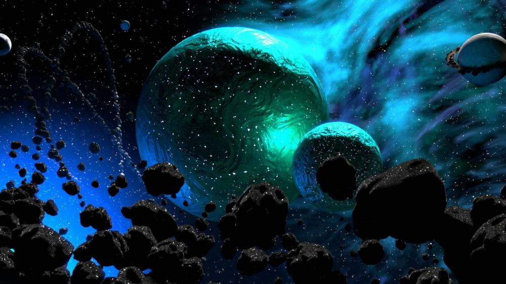 Planets surrounded by asteroids wallpaper