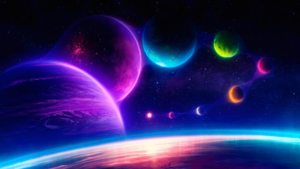 Neon planets wallpaper