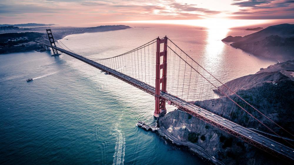 Golden Gate Bridge drone photography wallpaper