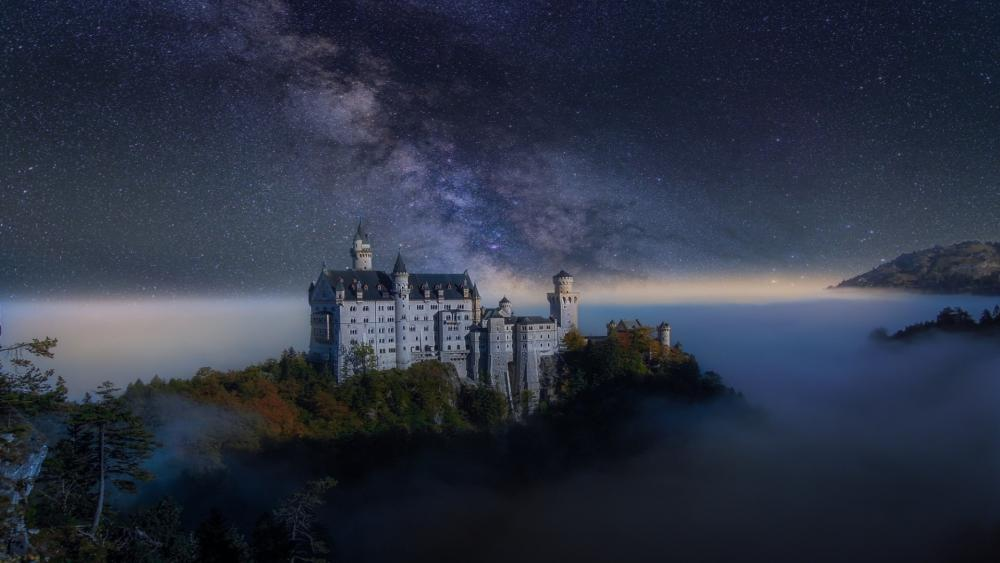 Milky way over Neuschwanstein Castle  wallpaper