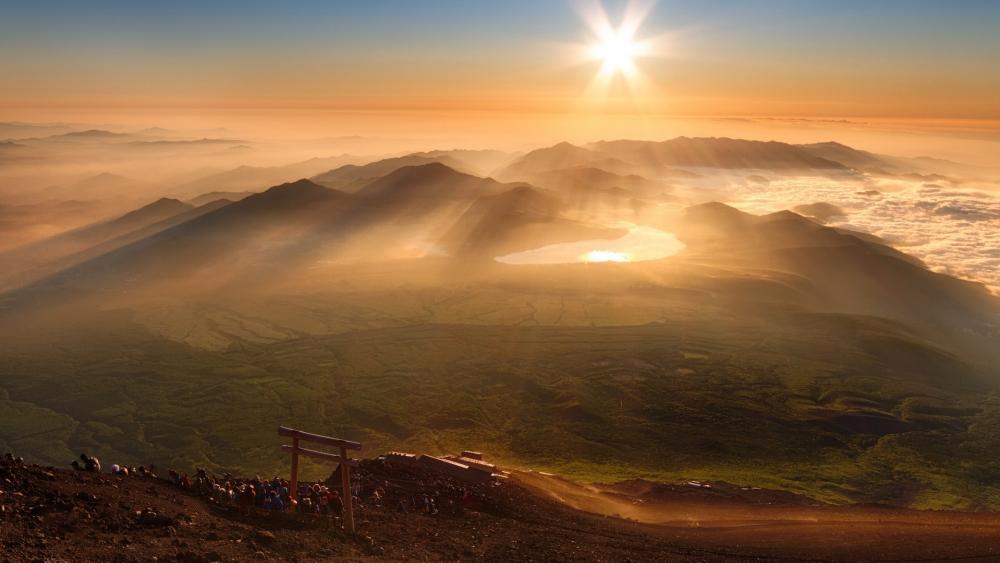 Hiking Mt. Fuji wallpaper