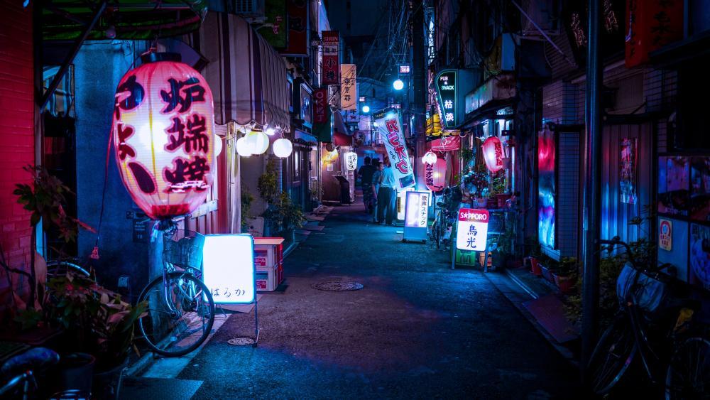 Night alley wallpaper