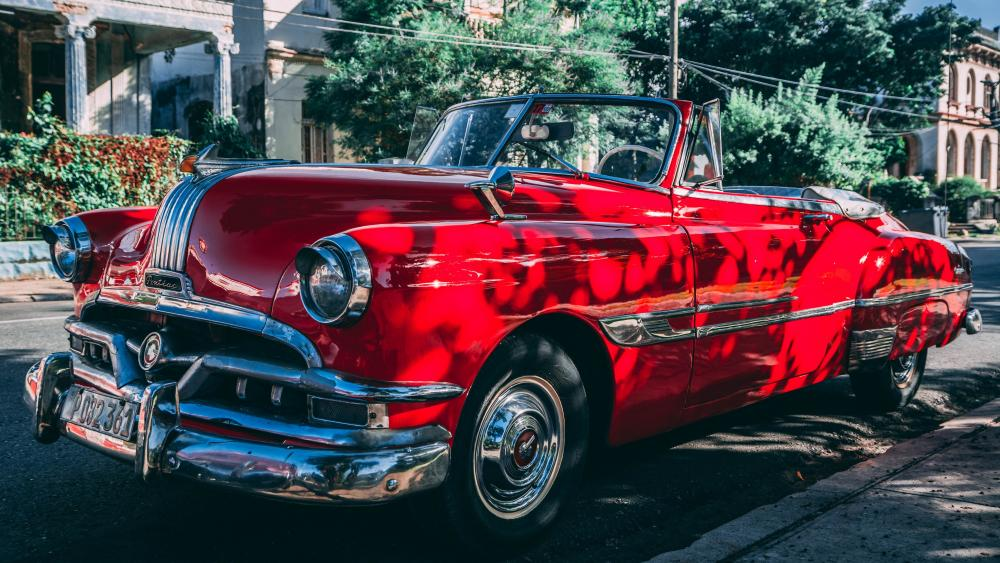 Red vintage car wallpaper