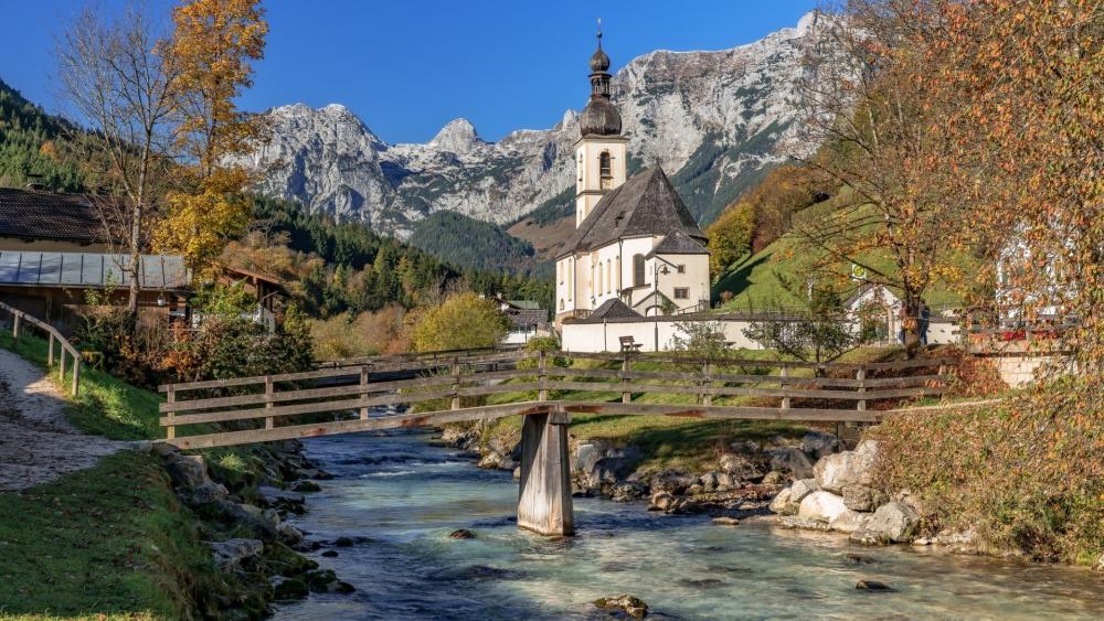 St. Sebastian Church and Reiter Alpe (Berchtesgaden National Park) wallpaper