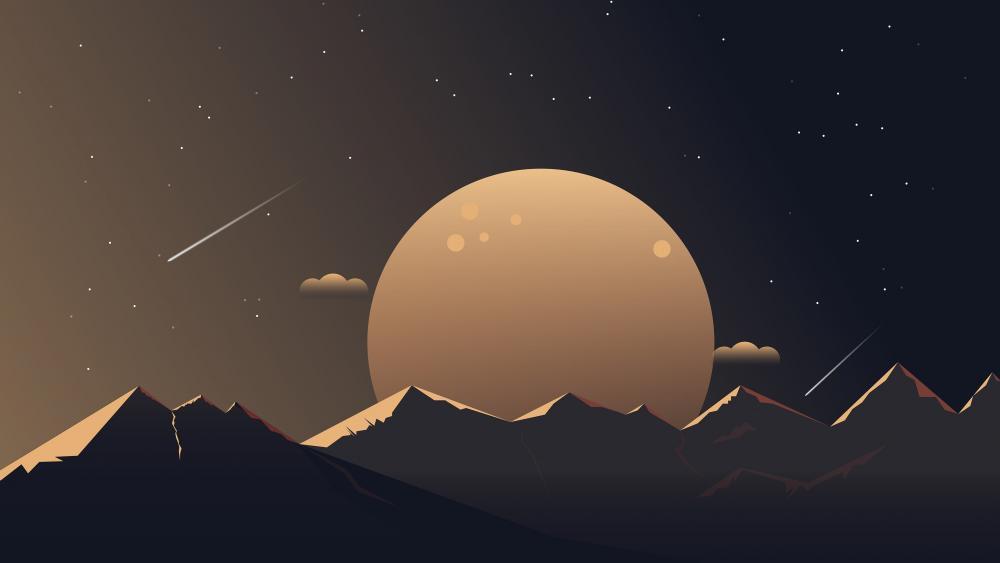 Minimal night landscape digital art wallpaper