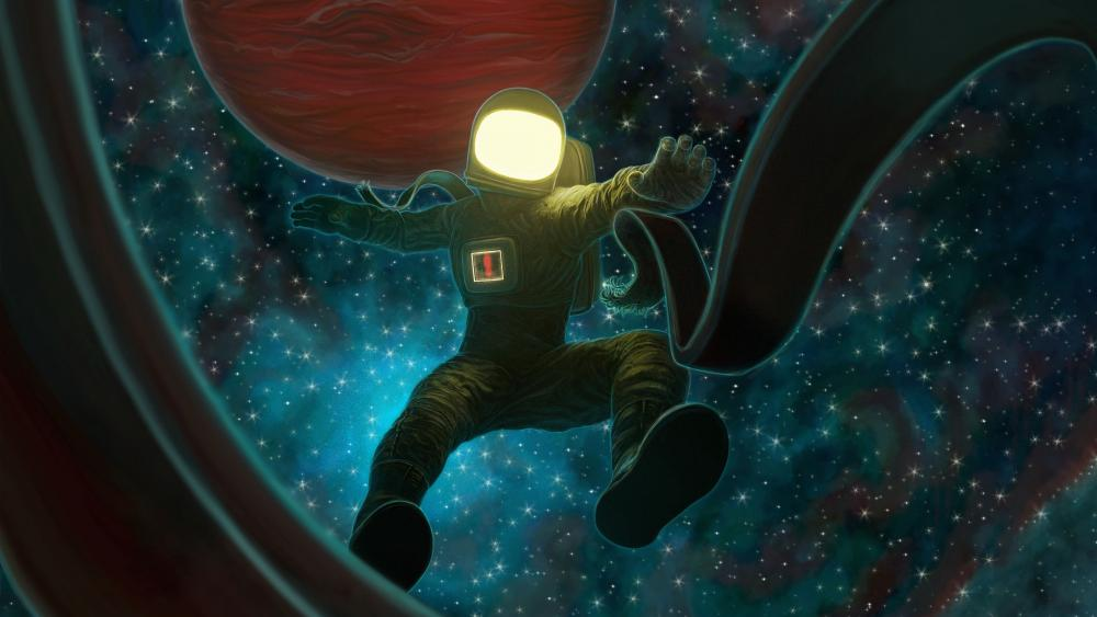 Astronaut falls into space wallpaper