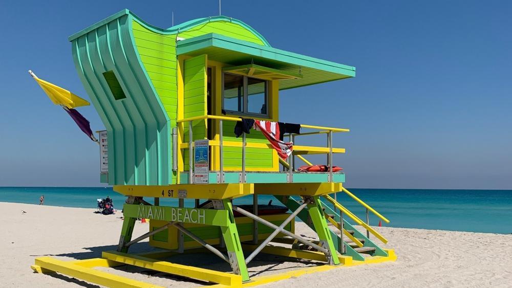 Green lifeguard Tower on Miami Beach wallpaper