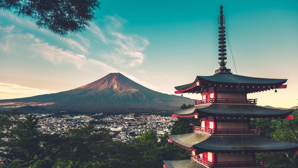 Mount Fuji and the Chureito Pagoda wallpaper