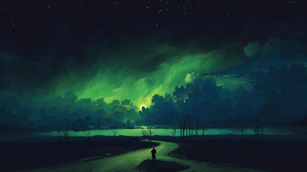 Green moonlight wallpaper