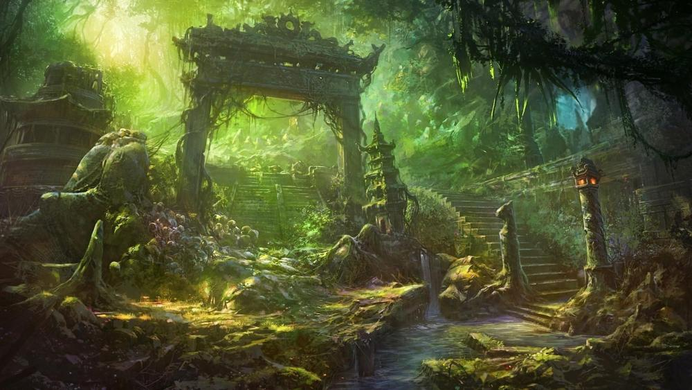 Temple ruins in the forest digitil art wallpaper
