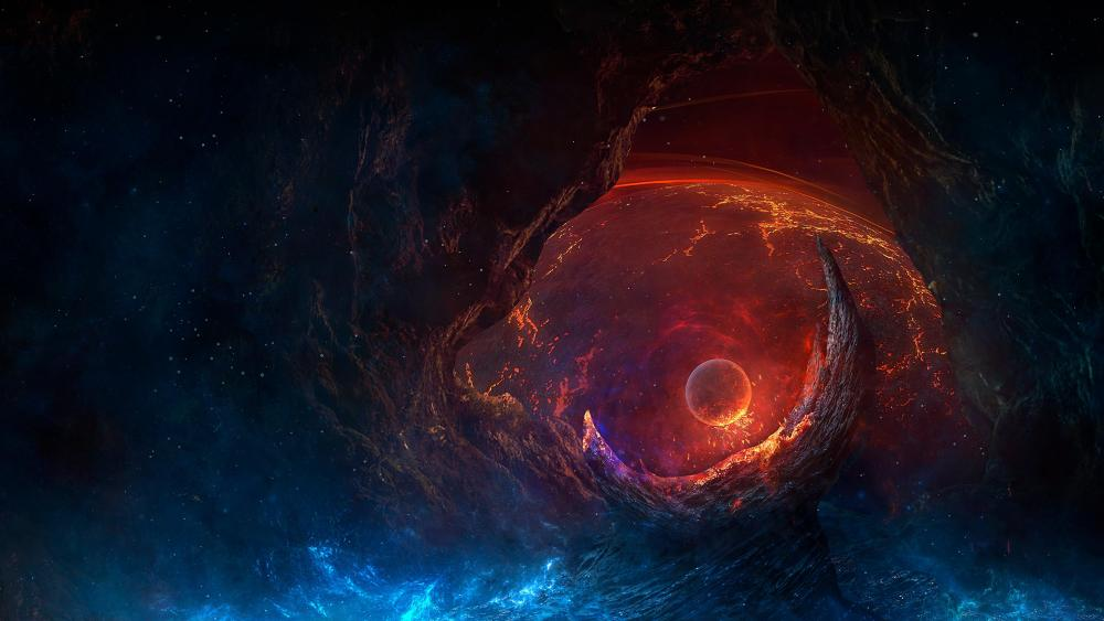 Planet in the wormhole wallpaper