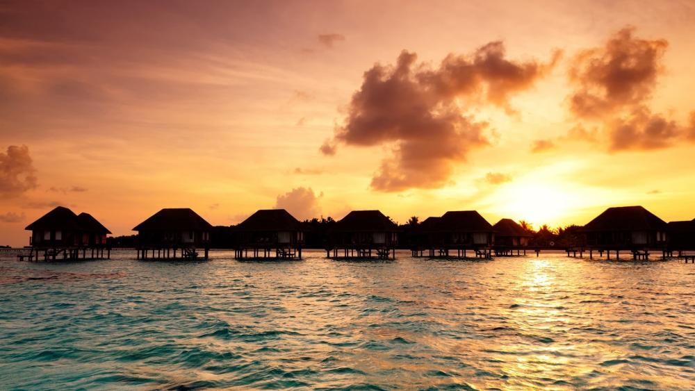 Maldives bungalows wallpaper