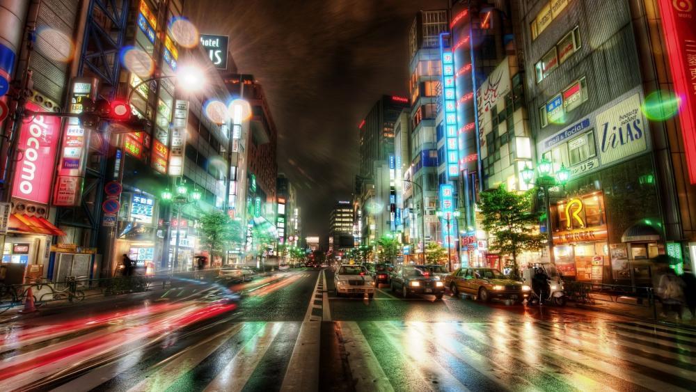 Tokyo street by night wallpaper
