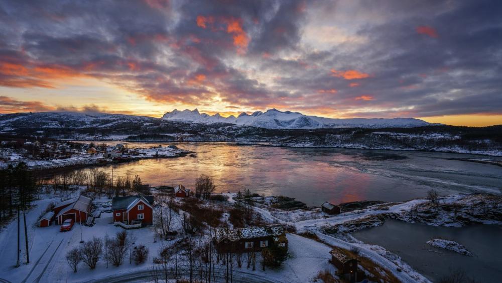 Norwegian Village in Lofoten wallpaper