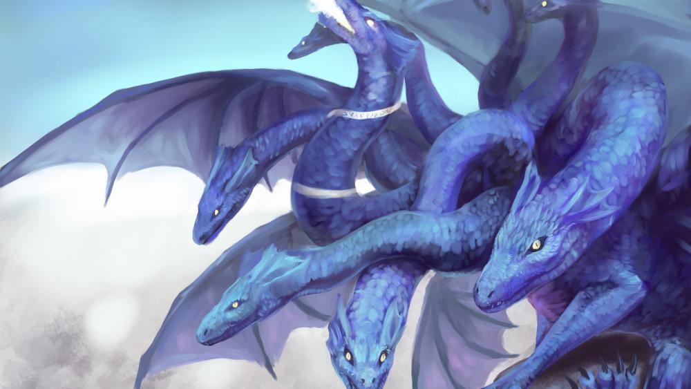 Blue hydra dragon wallpaper