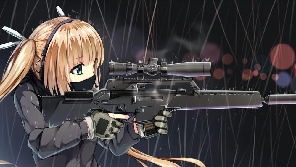 Anime girl with guns wallpaper