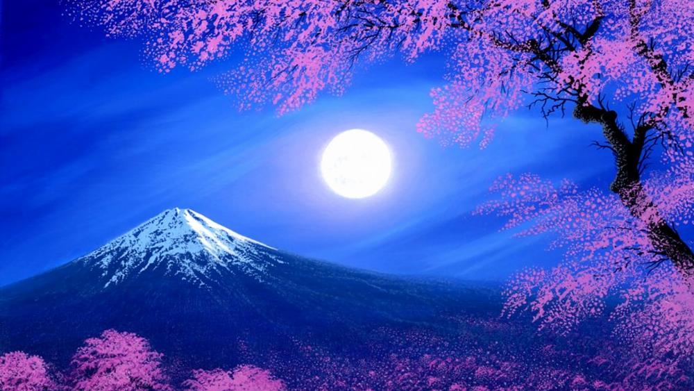 Full moon over Mount Fuji on a spirng night wallpaper