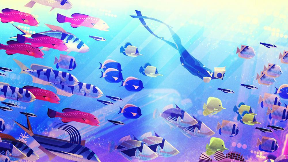 Diver with a fish of school digital art wallpaper