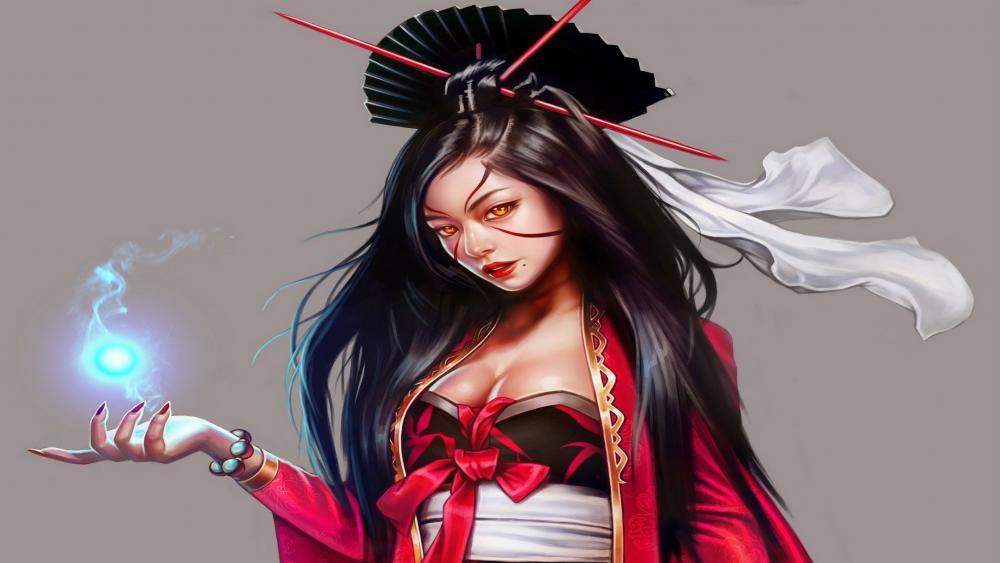 Asian woman fantasy art wallpaper