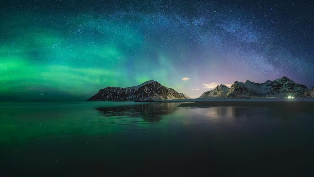 Lofoten aurora borealis and milky way wallpaper
