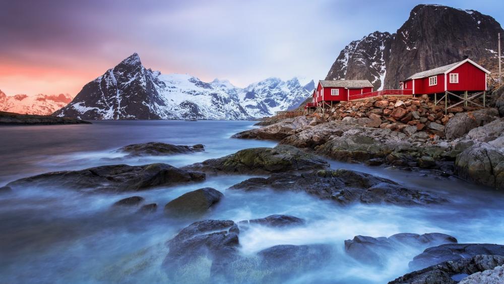Red houses in Lofoten wallpaper