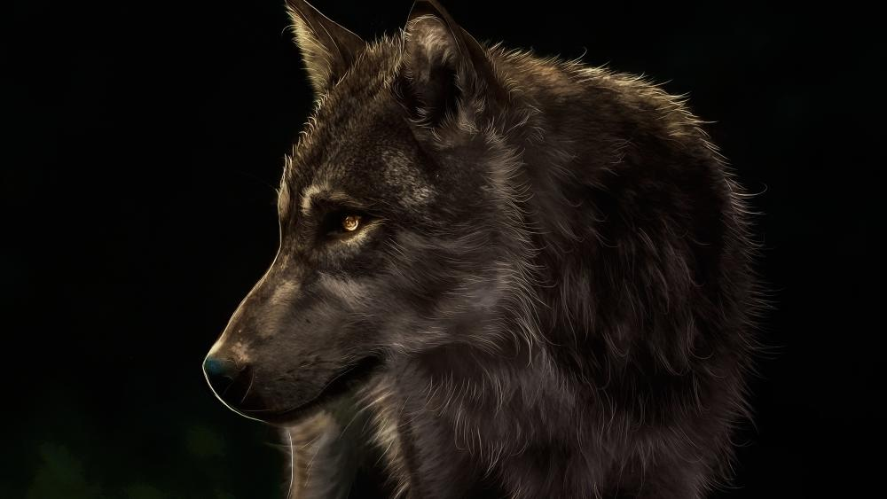 Wolf digital painting wallpaper