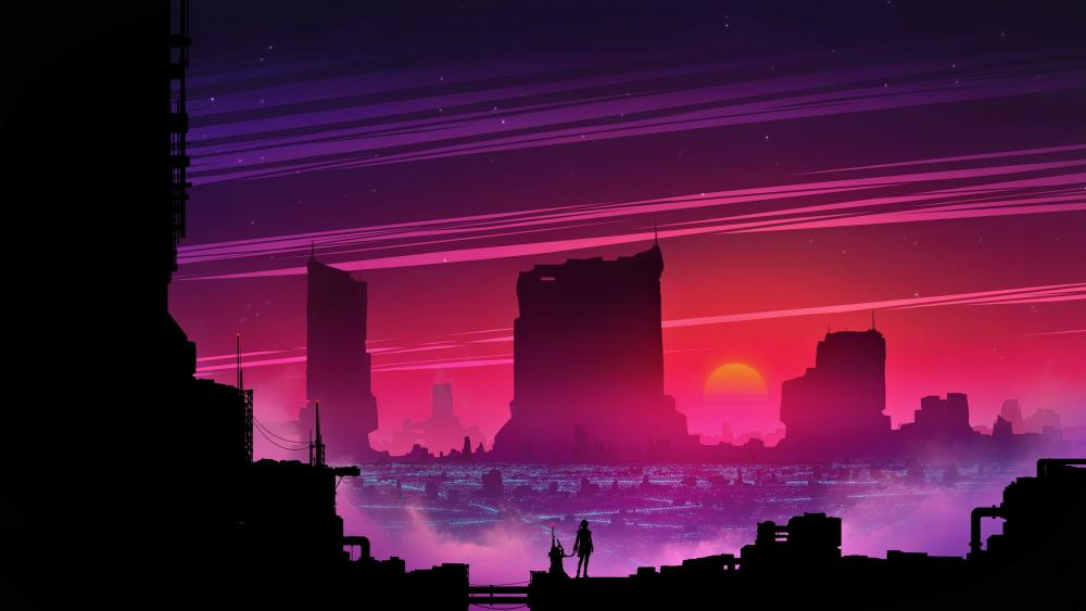 Synthwave future city wallpaper