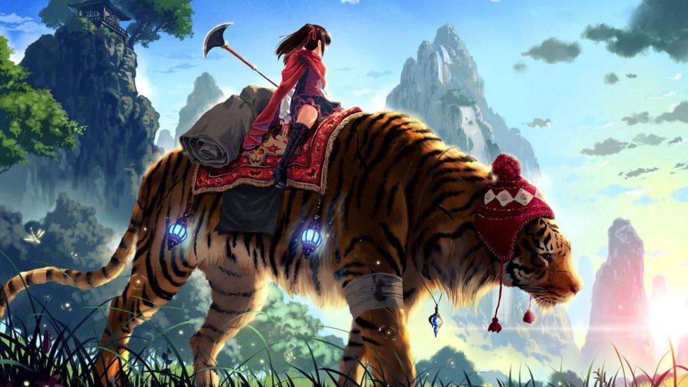 Girl riding a tiger wallpaper