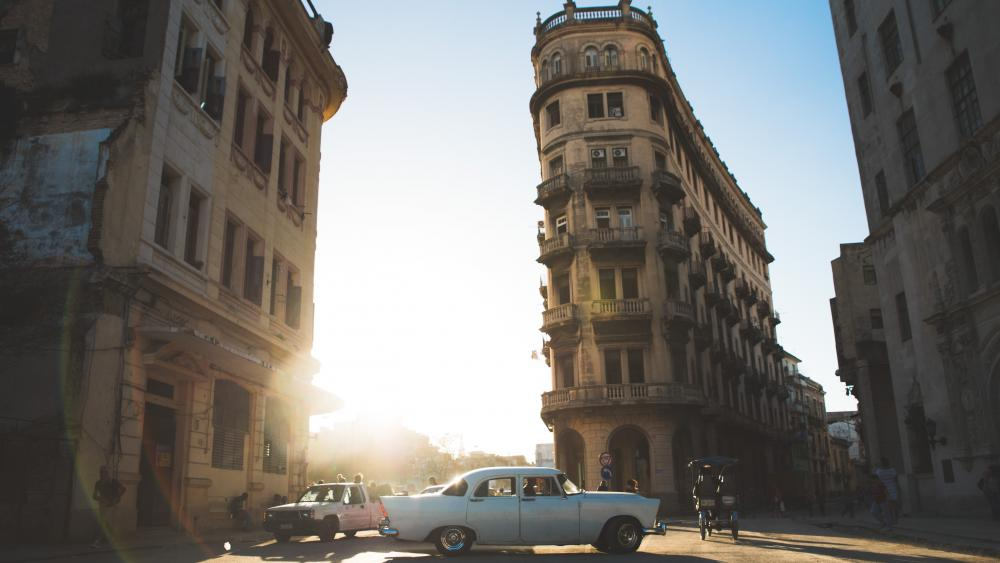 Golden hour in Havana, in what remains of its Chinatown wallpaper