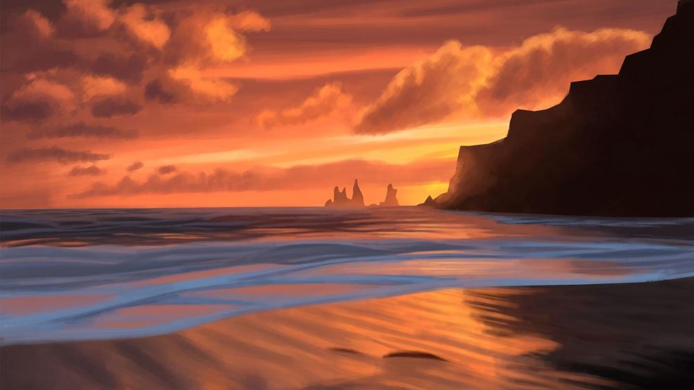 Sea at sunset digital art wallpaper