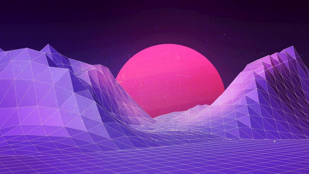 Pink moon digital art wallpaper