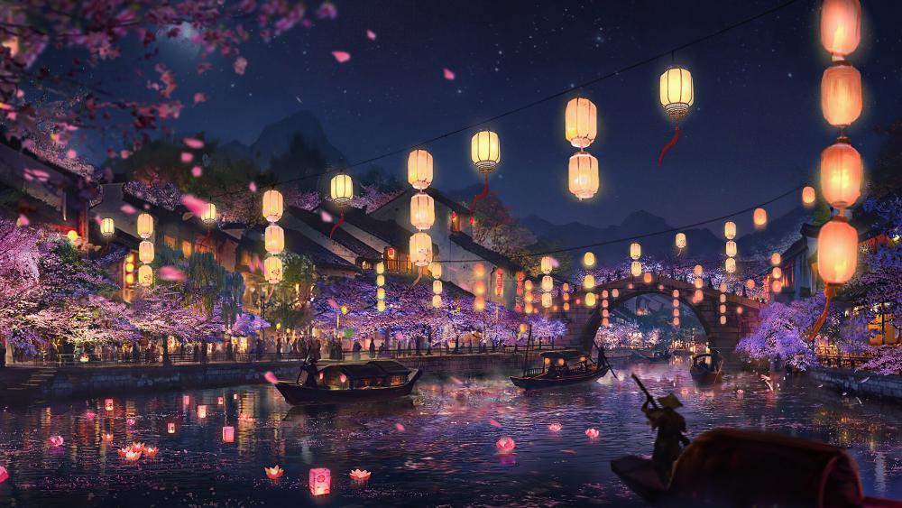 Festival of lights in a river digital art wallpaper
