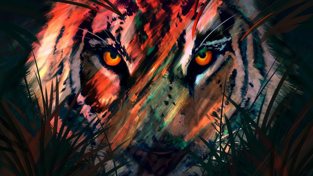 Digital painting tiger wallpaper