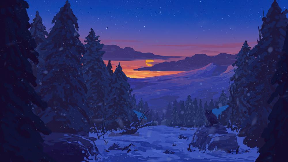 Sunset in snowy landscape digital art wallpaper