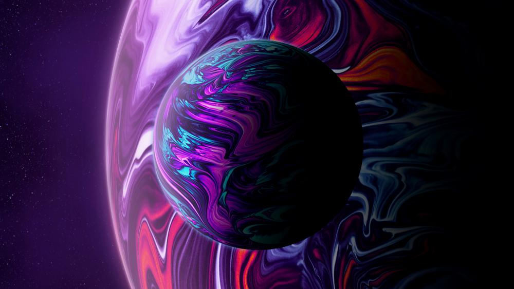 Colorful planet with its colorful moon wallpaper