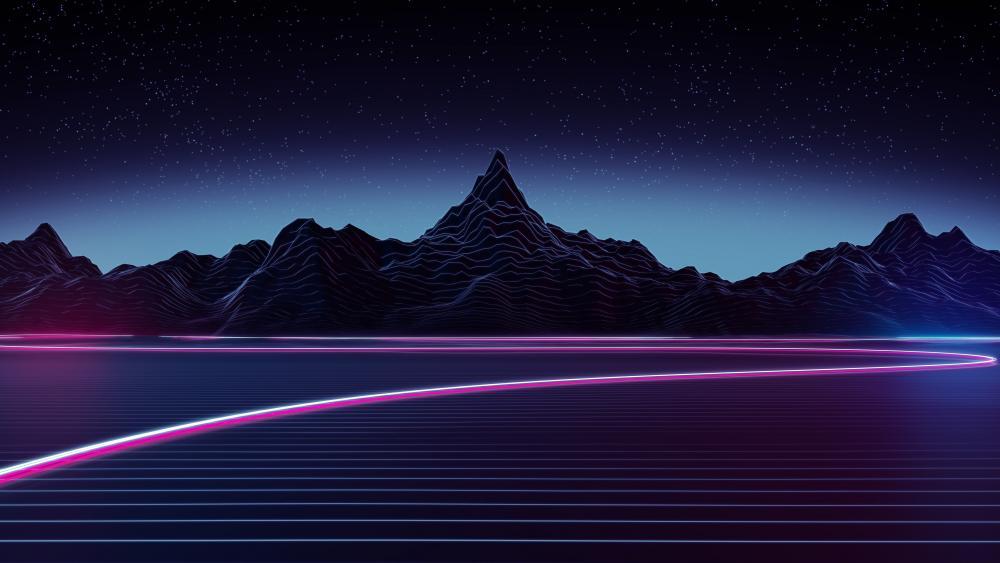 Neon highway digital art wallpaper