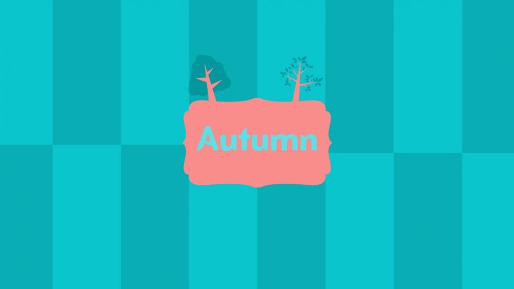 Autumn graphical Design - Bright Red and Blue wallpaper