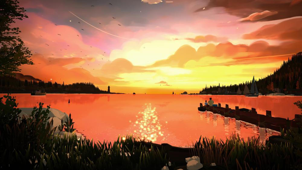 Sunset on lake digital art wallpaper
