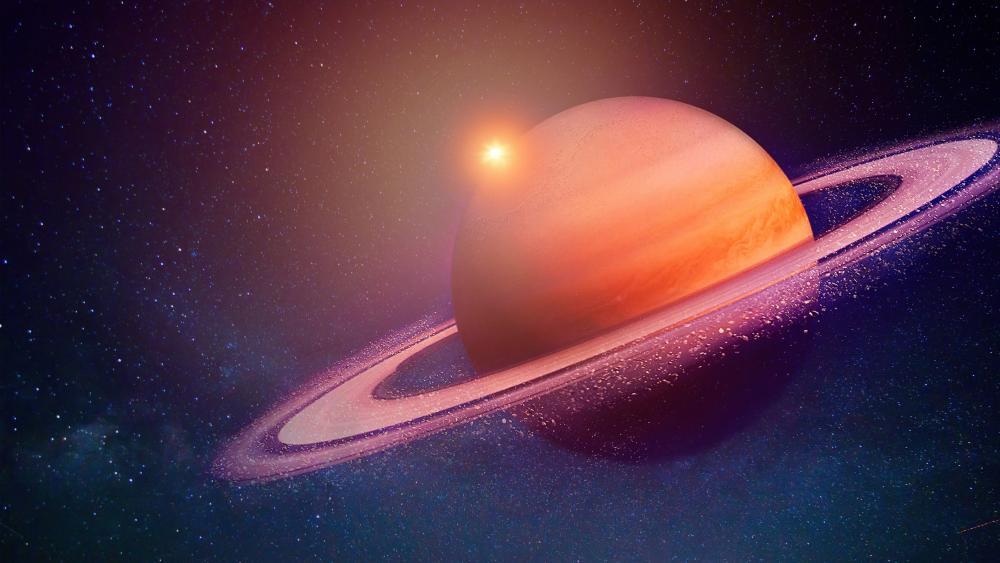 Saturn in eclipse wallpaper