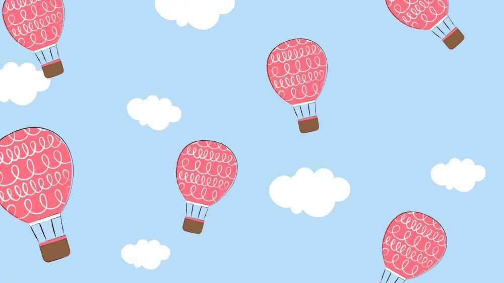 Hot Air Balloons in Blue Sky wallpaper