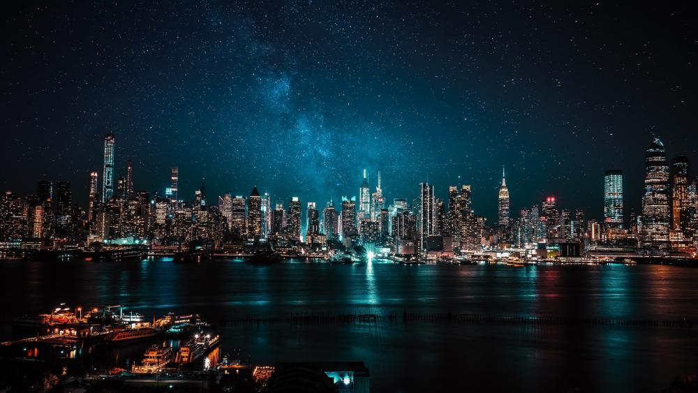 Milky Way over New York City  wallpaper