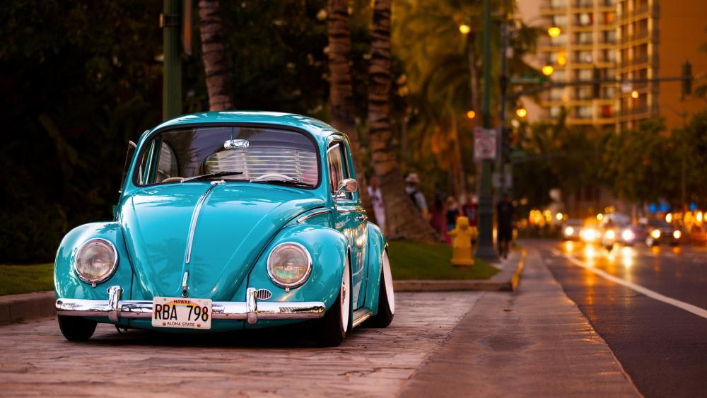 Blue Volkswagen Beetle Coupe wallpaper