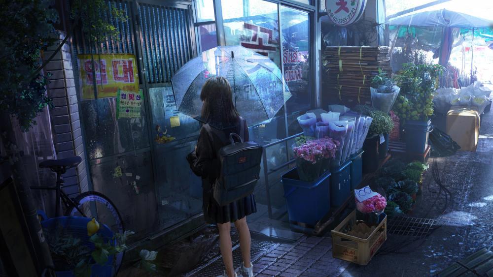 Rainfall girl wallpaper