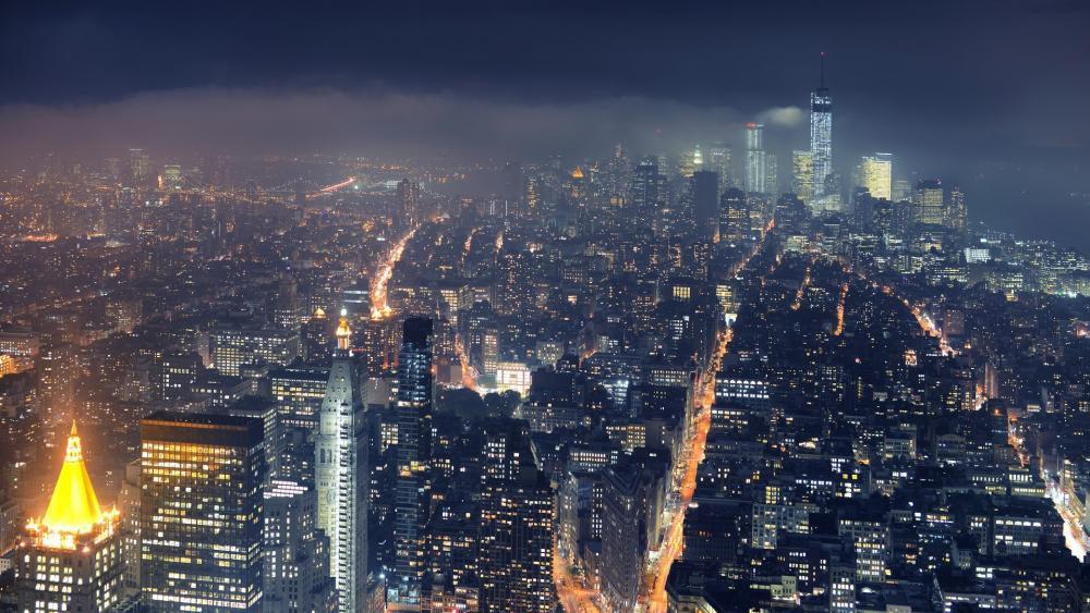 Foggy Manhattan wallpaper