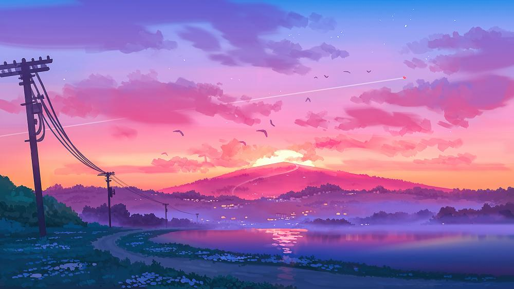 Sunset in the mountains illustration wallpaper