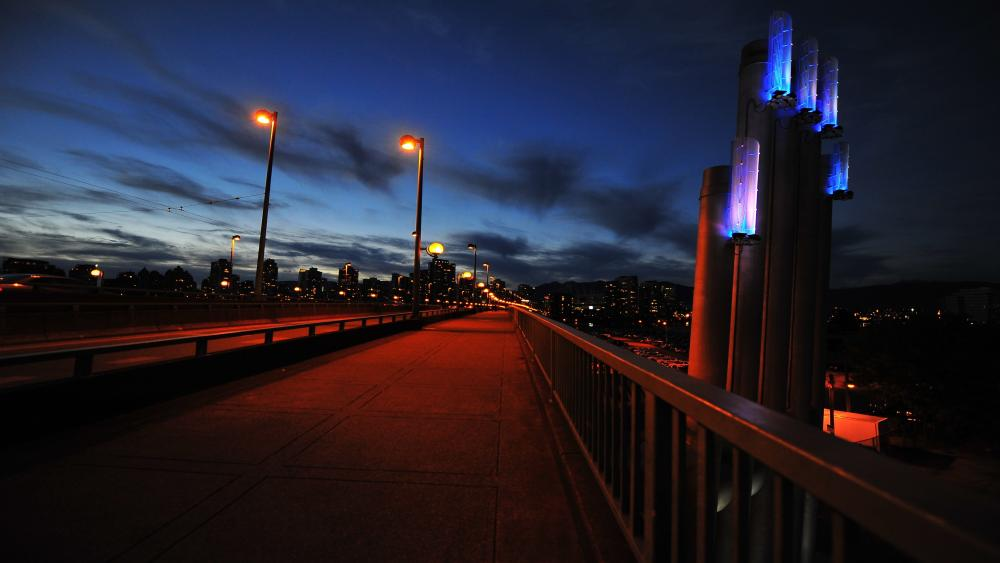 Canada night bridge wallpaper