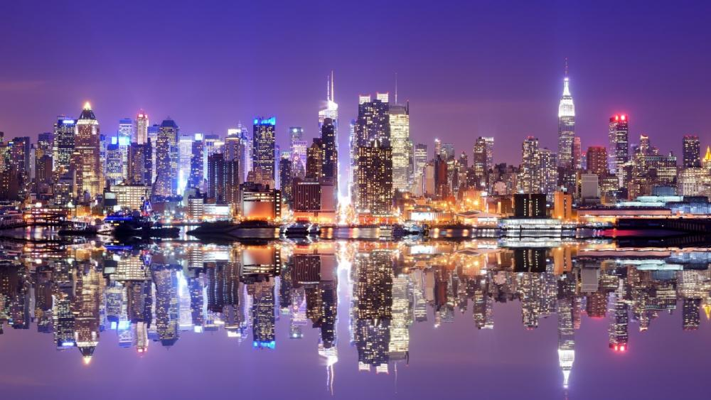 New York City skyline reflection wallpaper